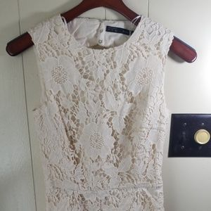 Zara Basic Ivory Cream Floral Croche Lace Dress S5